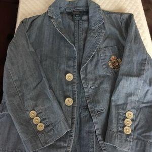 Ralph Lauren Denim Crested Blazer